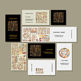 Business cards design, ethnic handmade ornament