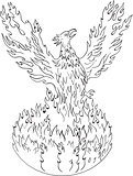 Phoenix Rising Fiery Flames Black and White Drawing