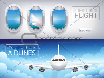 airplane window, the tourist banner. Passenger airplane in the sky clouds, safe flight across the sky