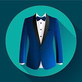 Dark blue man suit Vector icon
