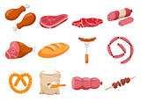 Meat flour and bread flat icons set vector