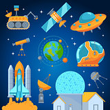 Space icons set flat style vector