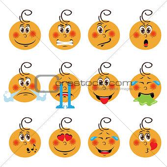Baby boy Emojis Set of Emoticons Icons Isolated