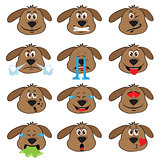 Dog Emojis Set of Emoticons Icons Isolated