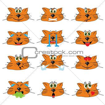 Cat Emojis Set of Emoticons Icons Isolated