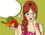 Sexy pop art woman with vegetables in his hand