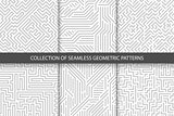 Collection of striped seamless geometric patterns. Gray and white texture.