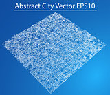 Wire-frame City, Blueprint Style. Vector