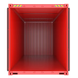 Bright red empty opened shipping container