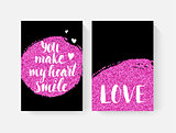 Valentine's day cards with hand lettring and pink glitter details.