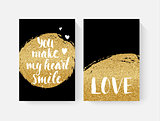 Valentine's day cards with hand lettring and gold glitter details.