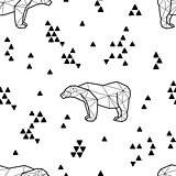Seamless black and white kids tribal vector pattern with polar bears and triangles.