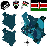 Map of Kenya with Named Counties
