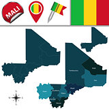 Map of Mali with Named Regions