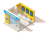 Vector isometric low poly currency exchange