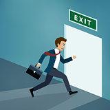 Businessman runs to exit door.