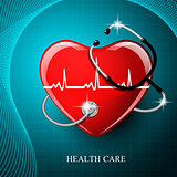 Stethoscope medical equipment and heart shape.