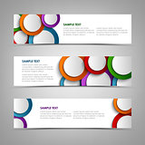 Collection white banners with colorful circles template