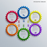 Info graphic with colorful design cogwheel template