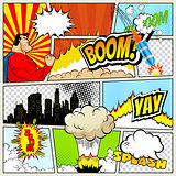 High detail vector mock-up of typical comic book page with various speech bubbles, symbols and sound effects colored Halftone Backgrounds superhero