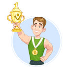 Winner sportsman with cup and medal vector