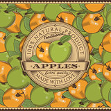 Vintage Apple Label On Seamless Pattern