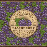 Vintage Blackberry Label On Seamless Pattern