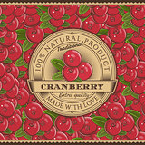Vintage Cranberry Label On Seamless Pattern