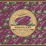 Vintage Eggplant Label On Seamless Pattern