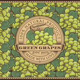Vintage Green Grapes Label On Seamless Pattern
