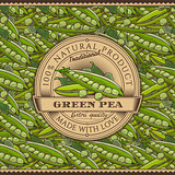 Vintage Green Peas Label On Seamless Pattern