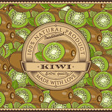 Vintage Kiwi Label On Seamless Pattern