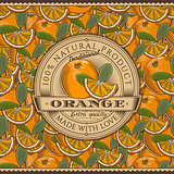 Vintage Orange Label On Seamless Pattern