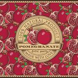 Vintage Pomegranate Label On Seamless Pattern