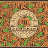 Vintage Pumpkin Label On Seamless Pattern