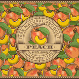 Vintage Peach Label On Seamless Pattern