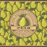 Vintage Pear Label On Seamless Pattern