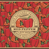Vintage Red Pepper Label On Seamless Pattern