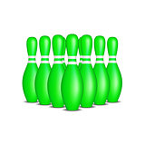 Bowling pins in green design with white stripes standing in formation