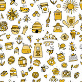 Honey apiary, seamless pattern. Sketch for your design