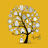 Honey apiary, art tree. Sketch for your design