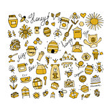 Honey apiary, icons set. Sketch for your design