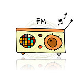 Vintage radio, sketch for your design