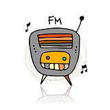 Vintage radio, sketch for your design