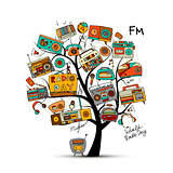 Vintage radio tree, sketch for your design