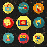 Movie icon set,black version,grunge vector with screen texture