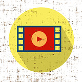 Film movie strip with play retro vector icon with grunge screen texture
