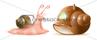 Cartoon snail looks at new shell of house. Buying property