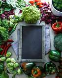 Blackboard with vegetables