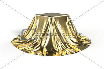 Box covered with golden fabric.